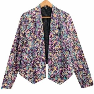 Abstract Watercolor Blazer Open Front Jacket